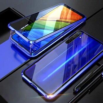 Перейти на Алиэкспресс и купить Металлический чехол с магнитной адсорбцией для Realme X50 Pro Player X3 SuperZoom 6 6s, чехол с магнитной застежкой на 360 градусов из закаленного стекла