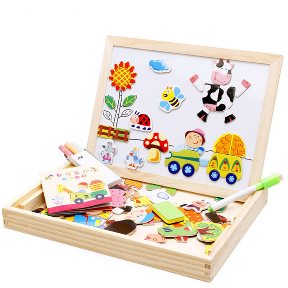Children Wooden Puzzles Multifunctional Magnetic Drawing Board Animal Traffic Forest Tangram Toys Baby Puzzle Educational Gift