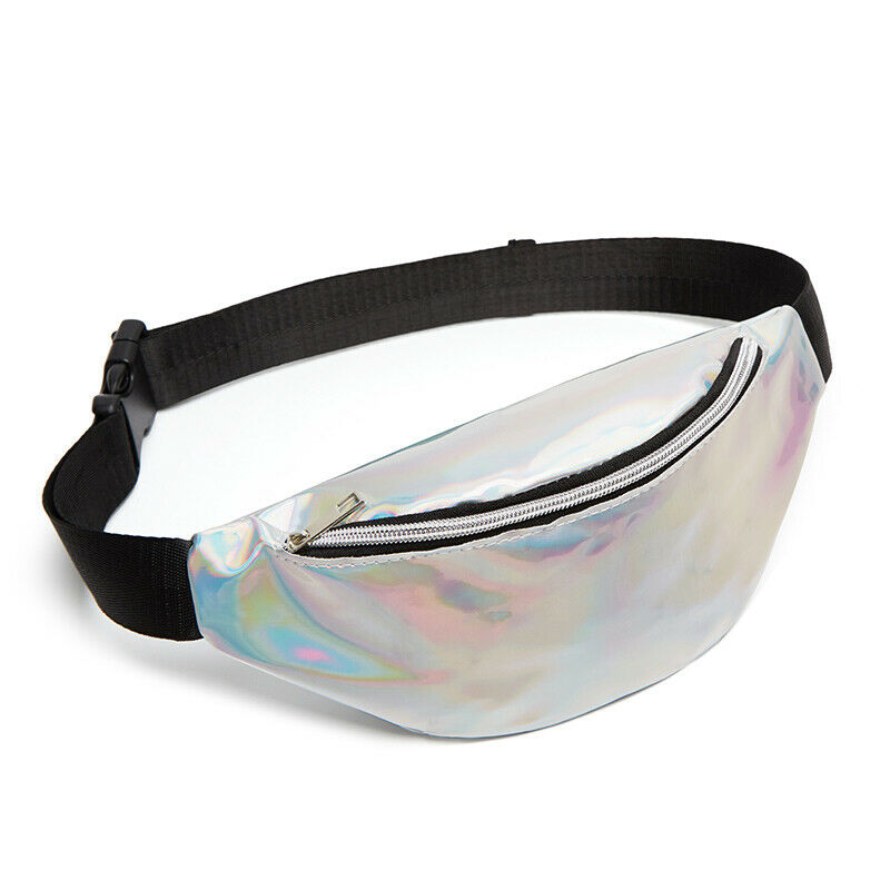 Sequin Laser Waist Bags Women Fanny Pack Running Zip Belt Clutch Purse Money Case Pouch Holiday Bag Black Gold Silver