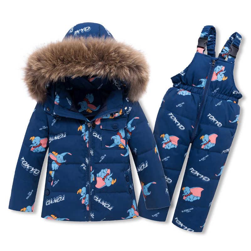 Trẻ em xuống áo khoác Bộ Cổ Lông Thú hoạt hình 90% Trắng vịt xuống bé bé trai và bé gái 2-Miếng- bộ áo khoác ấm áp + Yếm quần Unisex