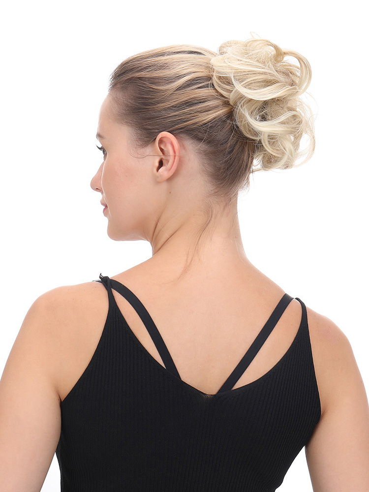 Delice Chignon Ponytails Rubber-Band Messy Bun Synthetic-Hair Curly Ring-Wrap Scrunchie