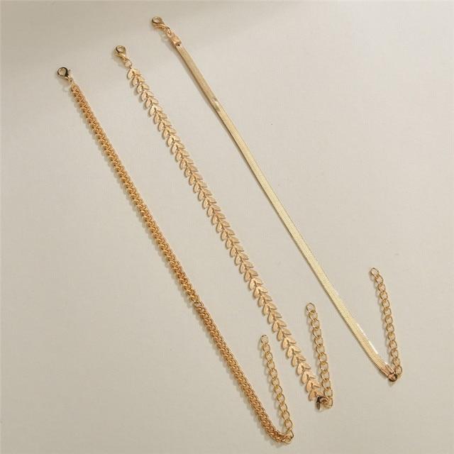 LETAPI 3pcs/set Gold Color Simple Chain Anklets For Women Beach Foot Jewelry Leg Chain Ankle Bracelets Women Accessories 4