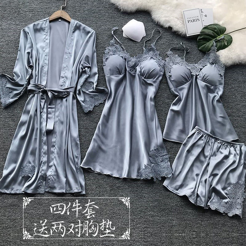 Pajama Women's Spring And Autumn Thin Summer Ice Silk Sexy Four Piece Set Home Clothes Suspender Nightdress Nightgown Set