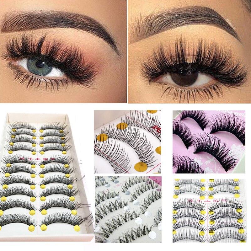 10Pair False Eyelashes Natural Long Thick Eye Lashes Extensions Makeup Tips Reusable Fake Eyelashes Handmade Eye Lashes Cosmetic
