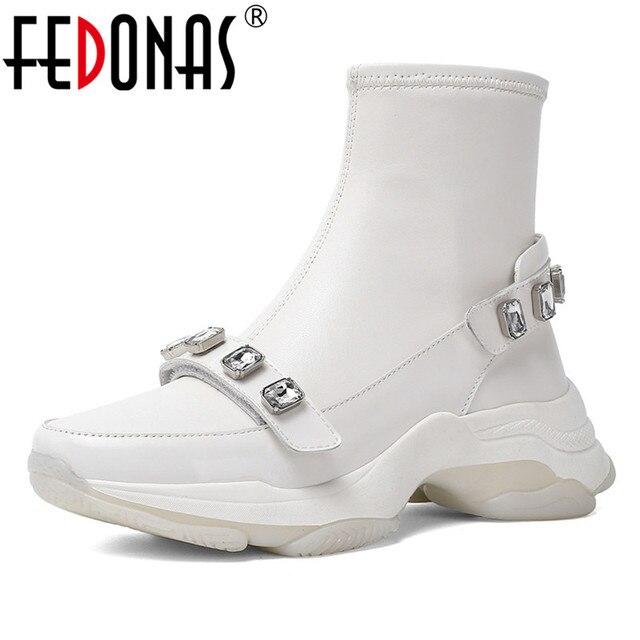 FEDONAS Klassieke Vrouwen Enkel Laarzen Casual Schoenen Vrouw Strass Herfst Winter Warme Sokken Laarzen Vrouwelijke Basic Platform Nieuwe Schoenen
