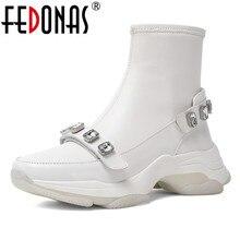 FEDONAS קלאסי נשים קרסול מגפי נעליים יומיומיות אישה ריינסטון סתיו חורף גרביים חמים מגפי נקבה בסיסית פלטפורמת נעליים חדשות