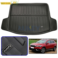 Задний коврик для багажника подходит для Suzuki NEW SX4 S-Cross Crossover 2014-2018 грузовой пол загрузки поднос ковер протектор Pad 2015 2016