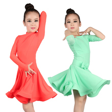 Girls Latin Ballroom Dress Candy Color Junior Dance Clothes Red Flamenco Costumes