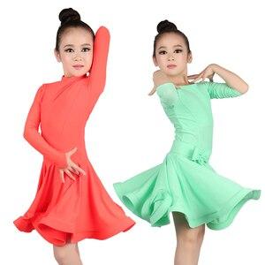 Image 2 - Girls Ballroom Dance Dresses Junior Latin Dress Knee Length Flamenco Dance Costumes