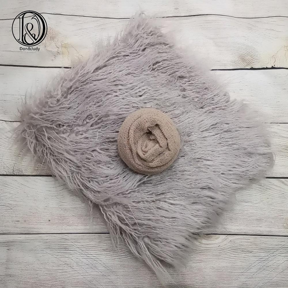 Don&Judy 2pcs/set Newborn Props 75x50cm Fur Blanket +140x30cm Wrap Background Blankets Basket Stuffer Infant Prop Fotografia