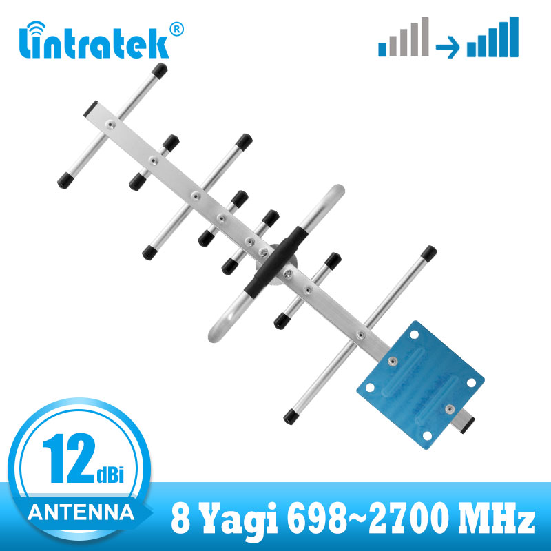 Lintratek 12dBi 698~2700 Mhz Yagi Outdoor Antenna For GSM 2g 3g 4g Signal Booster High Gain Antenna LTE Wcdma Repeater Can Use