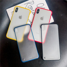 Simple creative solid color borderless phone case for iPhone X XS XR XSMax 87 6 6S PluS two-in-one lanyard drop protection cover