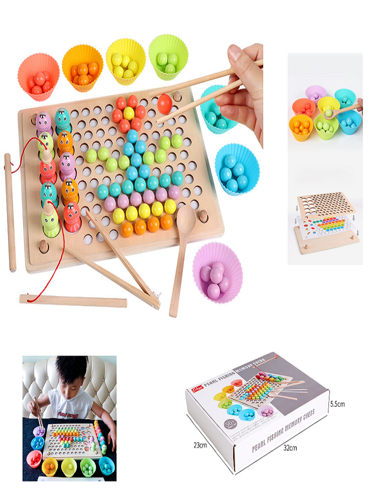 Wooden-Toys Puzzle Worm Catch Magnetic-Stick Montessori Education Fishing-Interactive