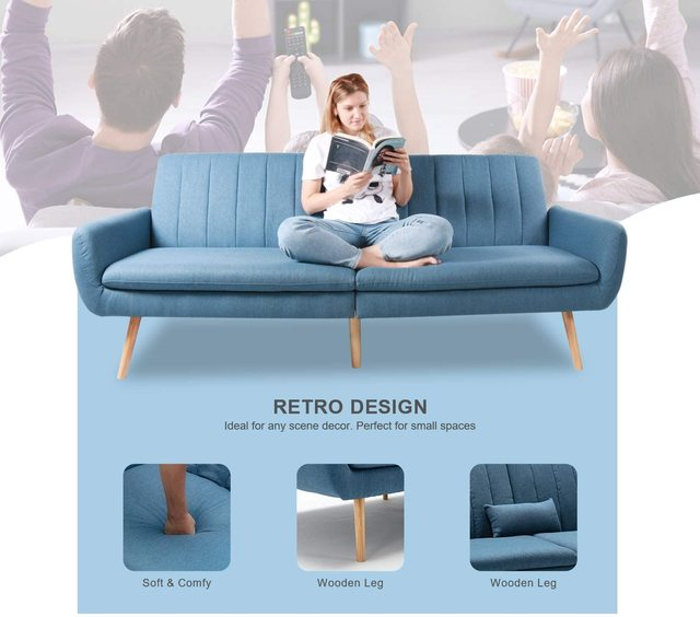 Sofa Futon Bed, Convertible Sleeper Couch  3