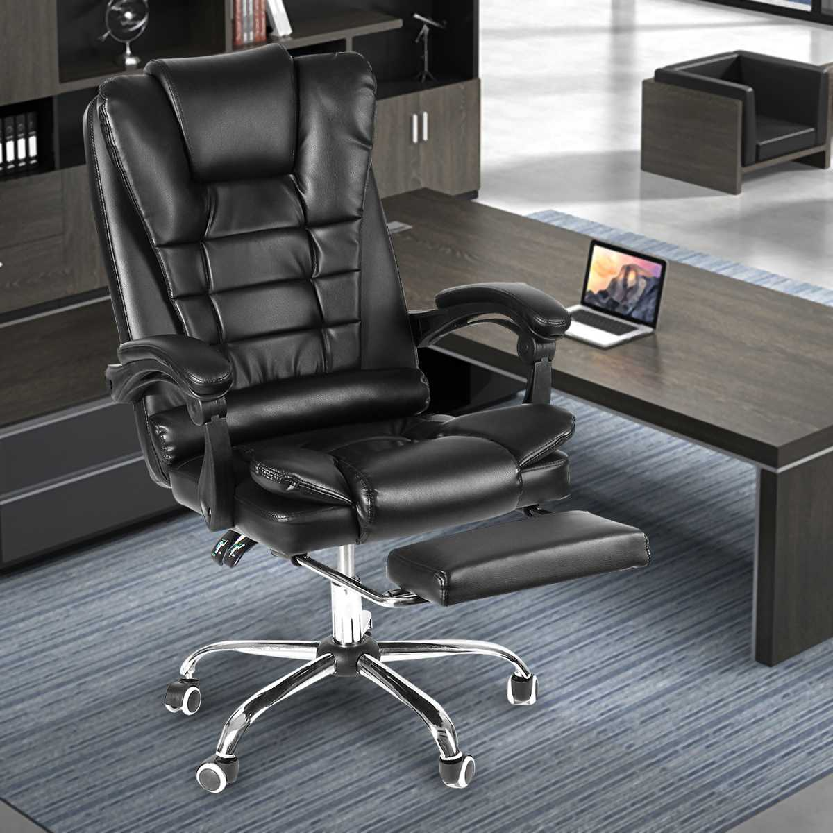 Reclining Office Chair Adjustable Rotating Lift PU Leather Office Computer Gaming Chair Armchair With Footrest Home Furniture