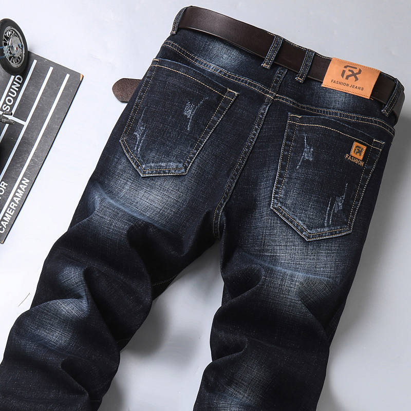 Denim Pants Trousers Jeans Regular-Fit Classic Elastic Business Blue Black Male Men's