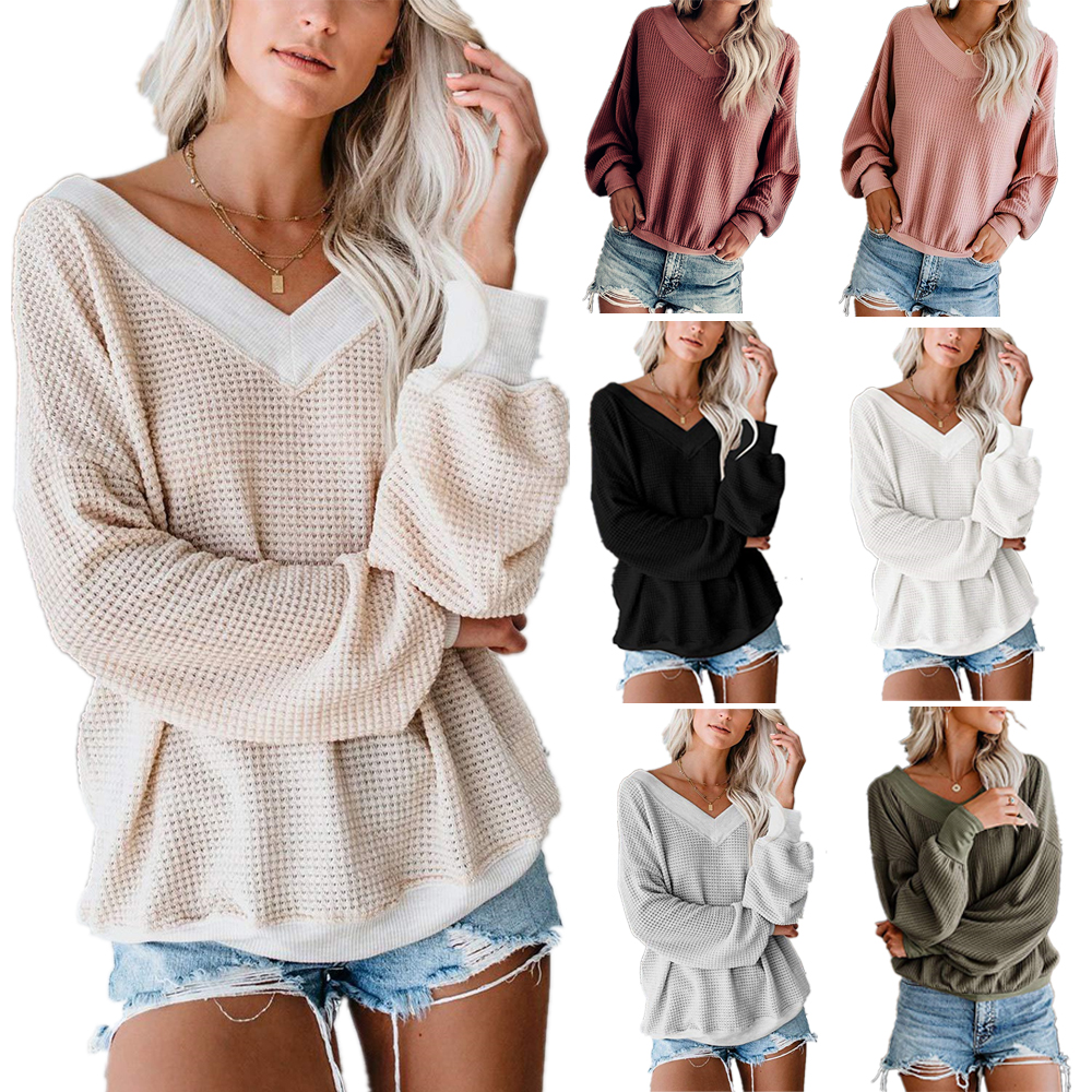 2019 Autumn New Women V-Neck Long-Sleeved Sweater Leisure Solid Colors Multi-Color Blouse Large Size S-XXXL