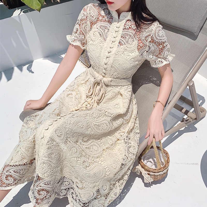 編組ベルトハイウエスト女性のドレス中空アウト刺繍半袖アプリコットヴィンテージマキシドレス夏 2020 新
