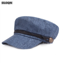Hat Military-Hats Flat-Cap Summer Woman's SILOQIN Fashion Gorra Snapback Trend Leisure