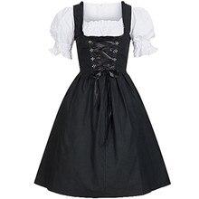 Womens Dress Oktoberfest Costume Bavarian Beer Girl Drindl Tavern Maid Long Sleeve Vintage