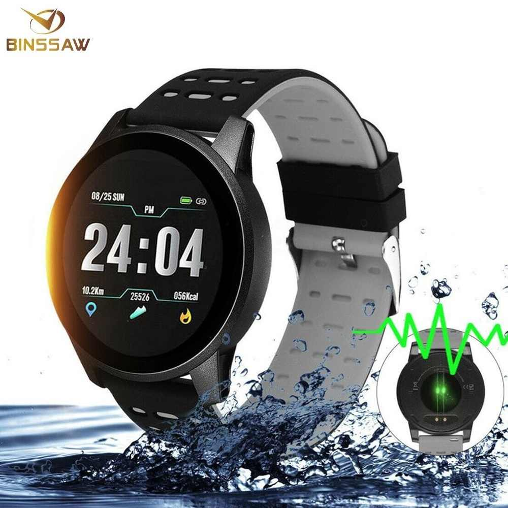 Binssaw Smart Watch Kebugaran Pengukuran Tekanan Darah Gelang Tahan Air Tracker Watch Wanita Pria Heart Rate Monitor Watch