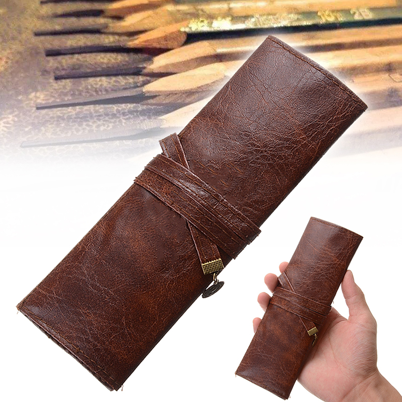 New 1Pc PU Leather Rollup Pencil Case Pencil Bag Vintage Style Pencil Case Leather Pencil Case Pen Bag Holder