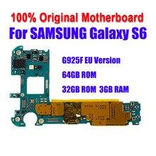 Para samsung galaxy s6 edge g925f 32gb 64gb oficial do telefone placa mãe desbloquear toda a mainboard com chips completos imei os placa lógica