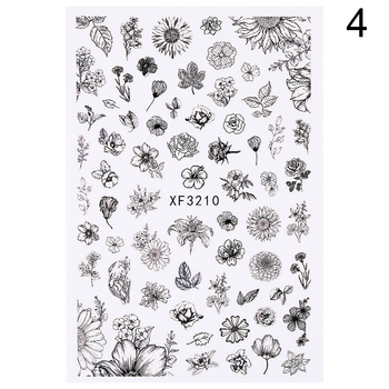 Flower Series Nail Water Decal Stickers Sakura Daisy Lavender Floral Pattern Transfer Sticker  Nail Art Decoration 42