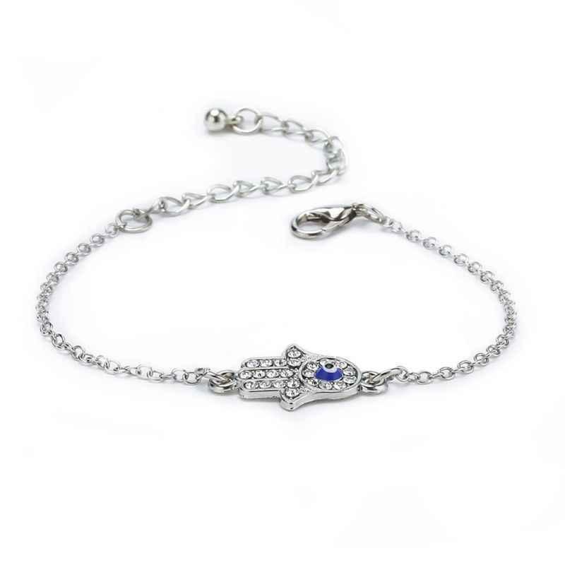 Turquia fatima mão hamsa charme azul mal olho proteger pulseira boa sorte jóias
