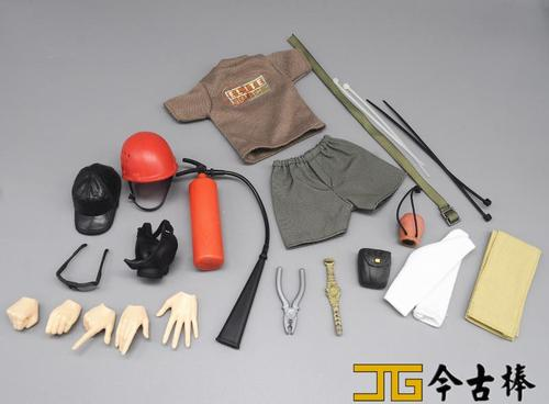 1//6 Scale Toy Biohazard Boy Black Gas Mask w//Red Filters