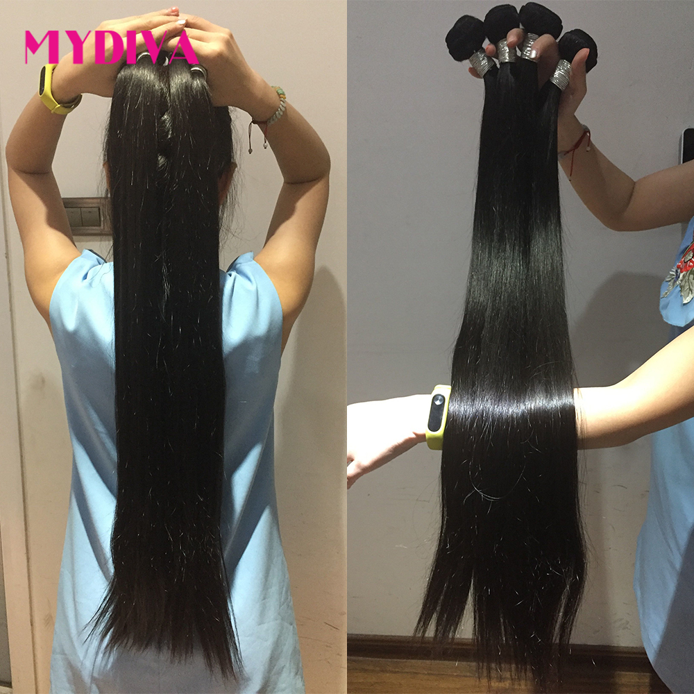 Mydiva 8-34 36 38 40 Inch   Bundles Straight 100%  3/4 Bundles Natural Color  Hair s 3