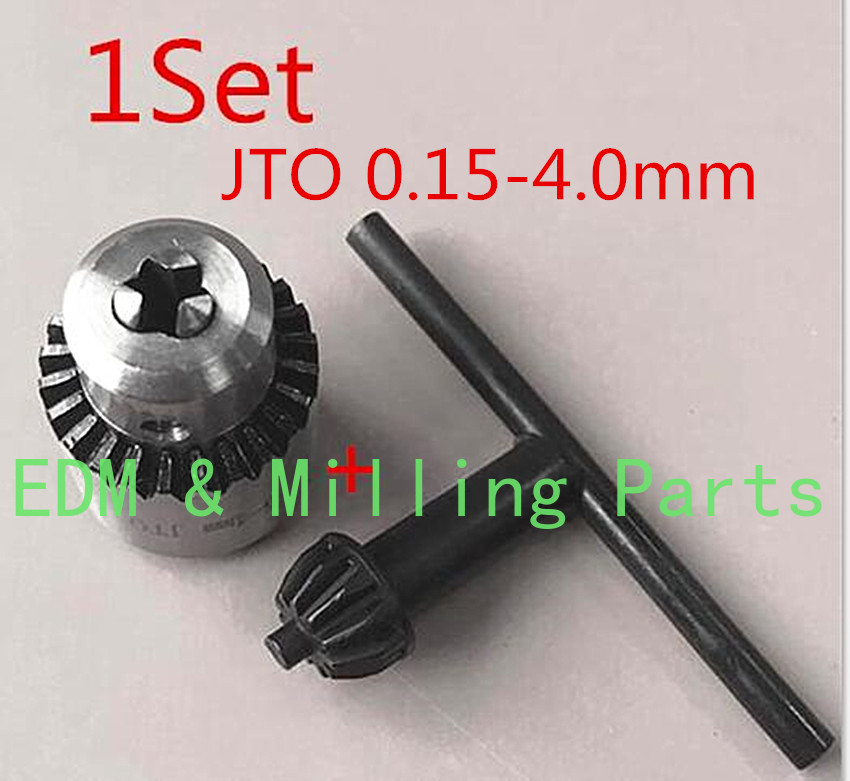 1Set CNC Drill Machine Part Spanner Drill Chuck JTO 0.15-4.0mm + Wrench For EDM Drilling Machine