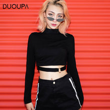 DUOUPA 2019 Explosion Models T-shirt Womens Ins Fashion Temperament Half-high Collar Hollow Repair Shirt Trend Pullover