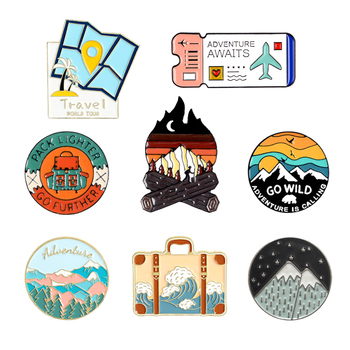 Camping explore enamel pin Bonfire backpack Cartoon Air ticket pins brooch scenery Lapel pin jewelry gift for Adventure lovers image