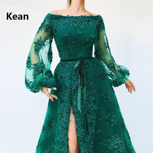 Image 2 - Emerald Green Muslim Evening Dress Slit Puff Sleeve vestido de festa Islamic Dubai Kaftan Saudi Arabic Evening Gown Prom Dress