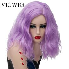 VICWIG 14Inch Short Curly Wig Purple Green Black Pink White Red 13 colors Synthetic Cosplay Wigs for Women Heat Resistant Hair miss peregrine s home for peculiar children miss perry green cosplay wig eva green black short curly hair wigs