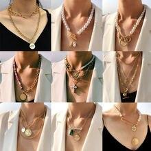Женское многослойное ожерелье flatfoosie чокер с имитацией жемчуга