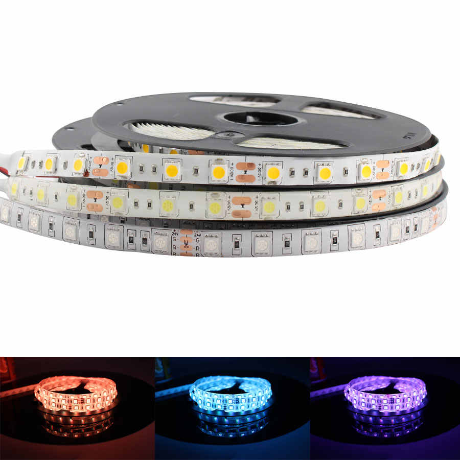 5V 12V 24 V RGB LED Strip Lampu Tahan Air 5050 5M Fleksibel RGB LED Strip Lampu 5 12 24 V Tape Lampu Strip LED TV Backlight Pita
