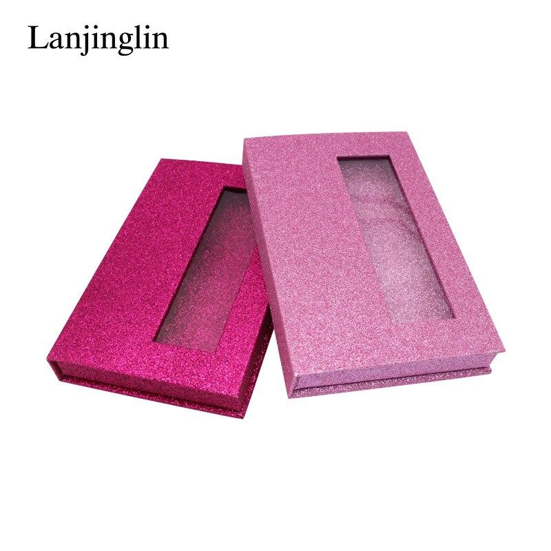LANJINGLIN 1/5 Pairs Mink Eyelashes Cardboard Box Blank Shiny Eyelashes Package DIY Flash Packing Box Full Strip Lashes Book