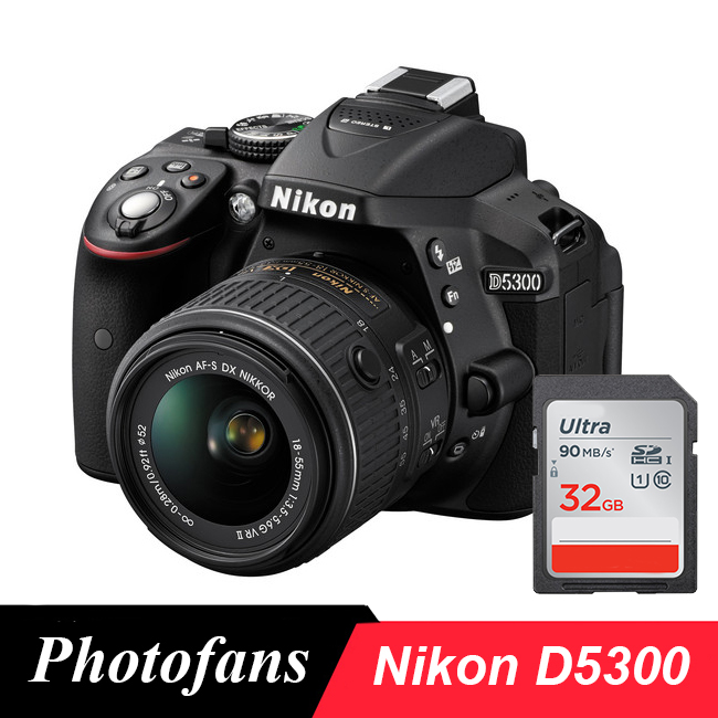 Câmera nikon d5300 dslr com lente de 18-55mm-wifi-vídeo