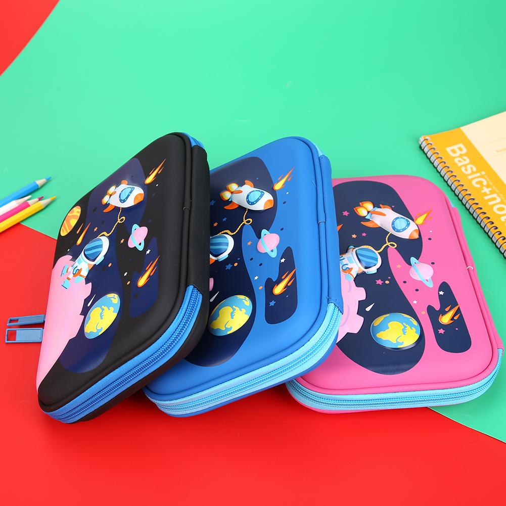 Student EVA Pencil Bags Cartoon Planet Pattern Kids Pencil Box School Stationery Storage For Household Students Decoration