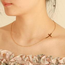 Skyrim Cross Choker Necklace for Women Girls Stainless Steel Gold Color Initial Chain Necklaces Summer Jewelry Gift Wholesale