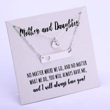 Комплект для мамы и дочки, ожерелье с цепочкой в форме сердца, луна, звезда, пара влюбленных, День матери, подарок для сестры ювелирные изделия для лучших друзей