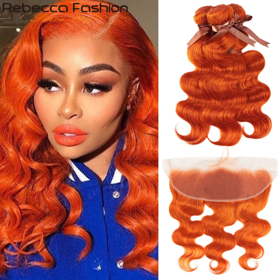 Capelli di onda del corpo di adidas Orange 3 4 fasci con chiusura fasci di tessuto brasiliano dei capelli fasci di onde colorate del corpo con frontale 8-28