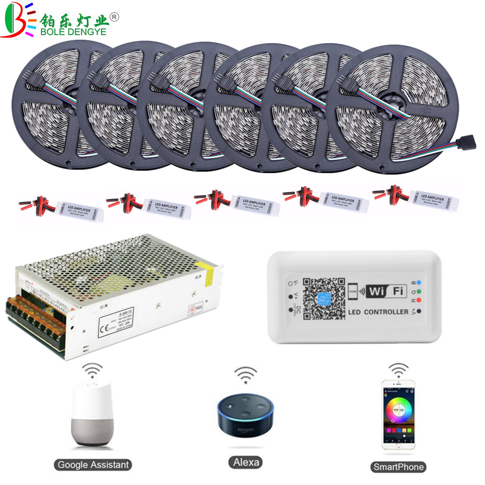 H9043d1b377174a278f57cf6f7105f4d3U 5050 RGB LED Strip Phone Control Wireless WiFi Tape Works With Amazon Alexa Google Home IFFFT DC 12V Flexible Strip Light+Power