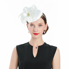 White Fascinators For Women Elegant Fedoras Hat Linen Pillbox Flower And Feathers Wedding Banquet Party Dance Church Caps