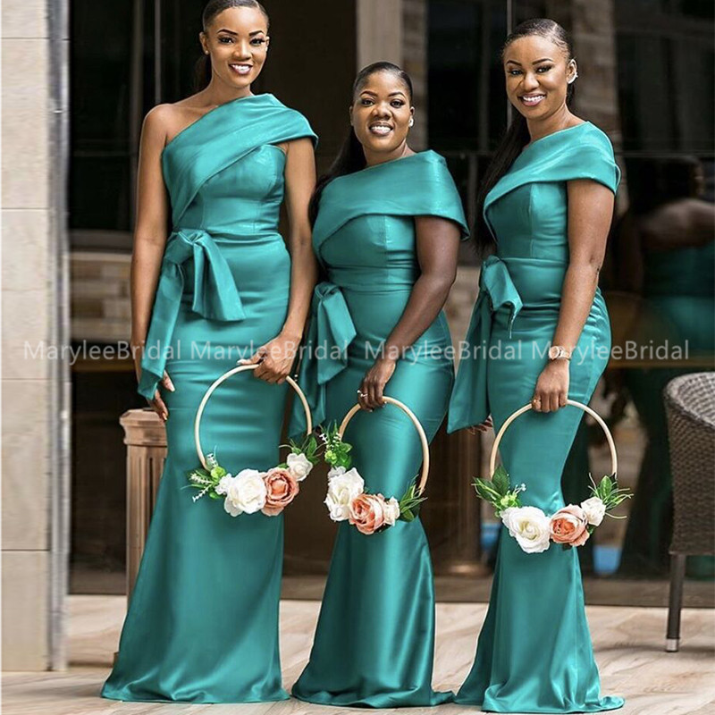 Teal Green Mermaid Bridesmaid Dresses With Belt 2020 One Shoulder Women Long Wedding Guest Dress Robe Demoiselle D'honneur