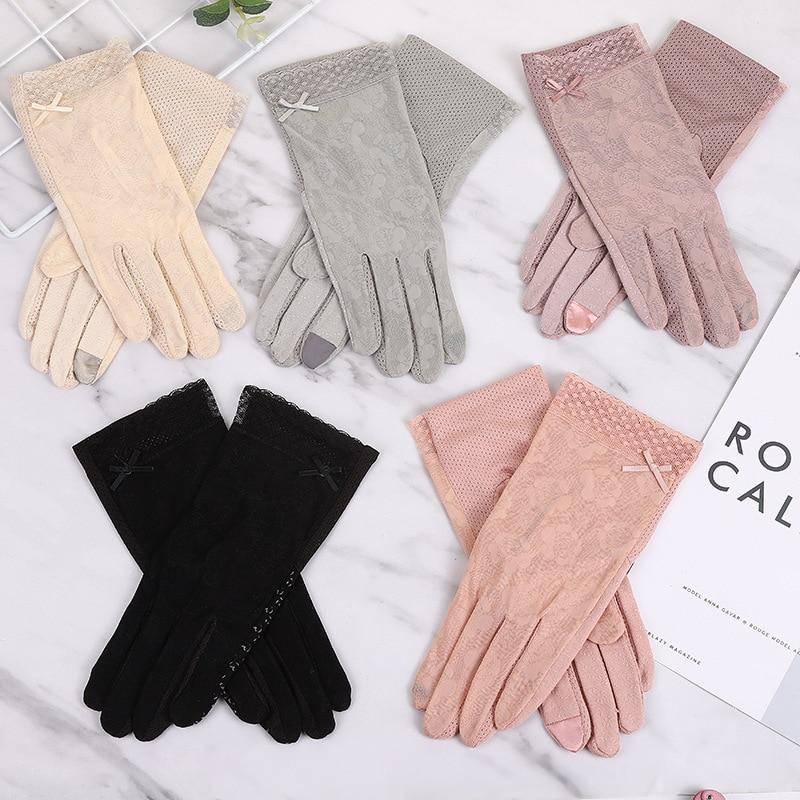 Women Summer Gloves Sunscreen Driving Gloves Fashion Touch Screen Lace Glove Non-slip Sun Protection Short Thin Glove