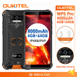 OUKITEL WP5 Pro IP68 Водонепроницаемый 5,5 дюймFDD Смартфон Android 10,0 мобильный телефон 13MP тройные камеры разблокировка лица 4 Гб 64 Гб 8000 мАч