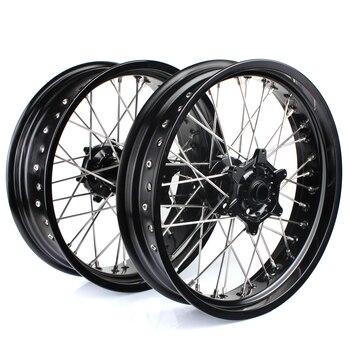 BIKINGBOY 3.5/5.0 Supermoto Front Rear Wheels Rims Hubs For KTM EXC 125 200 250 03-15 EXC 400 04-11 EXC 525 03-07 EXC 530 08-11